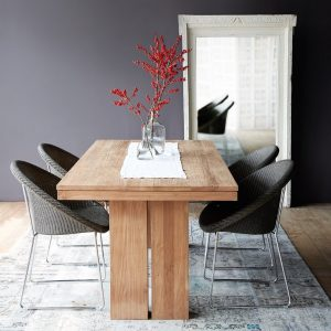 double teak dining table