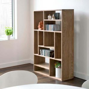 minimalist teak book case
