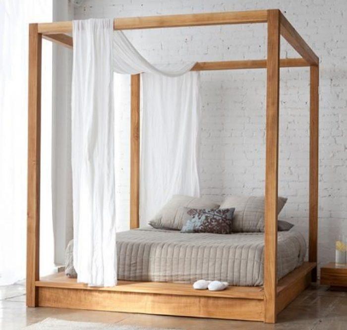 teak poster bed