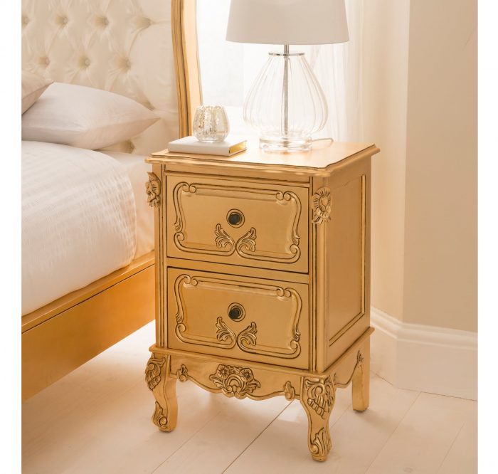 Gold Leaf Antique French Style Bedside