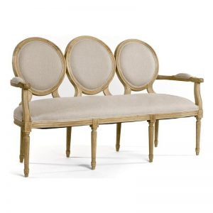 French country oval louis bench