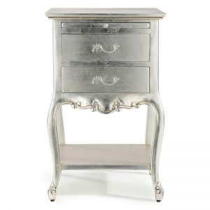 silver french bedside table