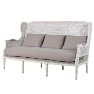 French Rattan 3 Seat Sofa